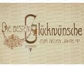 Digital Edwardian German Happy New Year Postcard | 1906 Die besten glückwünsche zum neuen jahre Printable Instant Download JPG