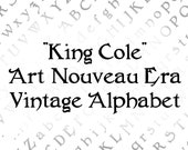 King Cole Penwork Alphabet Vector Clipart  | Vintage Art Nouveau Era Uppercase & Lowercase Letters, Numbers, Punctuation Calligraphy SVG PNG