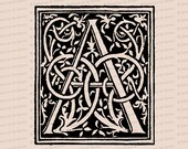 Ornamental Penwork Initial Letter A Vector Clipart  | Vintage Victorian Capital Letter A, Fancy Antique Monogram SVG PNG JPG