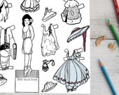 Elsa Coloring Page Printable Paper Doll | Vintage 1910s Doll |  Girl Instant Edwardian Digital Download Kid's Activity PDF