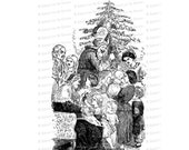 Vintage Victorian Family Christmas Scene | Antique Tree, Santa, Saint Nick, Children, Parents Vector Clipart Printable SVG PNG JPG