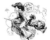 Vintage Edwardian 20th Century Witch Vector Clipart   Witch on Broom with Dog Jack-o-lantern Bats Moon Digital Instant Download SVG PNG JPG