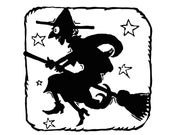 Digital Vintage 1920s Halloween Witch with Stars Silhouette Vector Clipart  Cute Halloween Witch on Broom Instant Download SVG PNG JPG