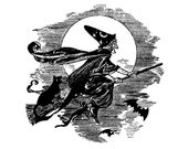 Vintage Witch Vector Clipart   Scary Witch Flying on Broom with Black Cat Digital Spooky Halloween Instant Download SVG PNG JPG