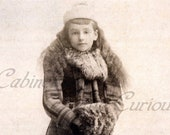Antique Photo DOWNLOAD | Sweet Victorian Child with Long Hair, Winter Coat & Fur Muff | Little Girl Winter photograph digital png jpg