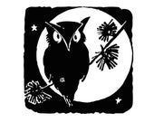 Digital Vintage 1920s Halloween Owl with Stars Silhouette Vector Clipart   Cute Spooky Owl Instant Download SVG PNG JPG