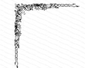 Vintage Victorian Ornate Flowers and Ribbon Corner Embellishment | Antique Decorative Floral Design Element Vector Clipart | SVG PNG JPG