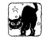 Digital Vintage 1920s Halloween Cat with Stars Silhouette Vector Clipart   Cute Halloween Black Cat Instant Download SVG PNG JPG