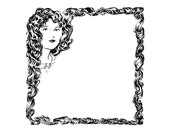 Digital Vintage 1920s Hair Border | Antique Decorative Long Curly Hair Frame | Woman with Long Hair Vector Clipart SVG PNG JPG