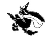 Digital Vintage 1920s Witch Flying on Broom Vector Clipart   Simple Stylized Halloween Witch Instant Download SVG PNG JPG