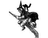 Vintage Edwardian Witch Vector Clipart   Scary Witch Flying on Broom with Black Cat Digital Spooky Halloween Instant Download SVG PNG JPG