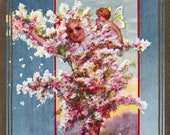 Antique Postcard DOWNLOAD | Unusual Edwardian Fantasy Personified Pink Flowering Tree with Fairy | Cherry Tree Spirit Floral Flowers png jpg
