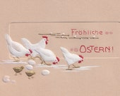 Digital Edwardian German Happy Easter Postcard with Chicks & Roosters Clipart | 1906 Fröhliche Ostern Printable Instant Download JPG PNG