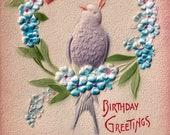 Antique Postcard DOWNLOAD | Beautiful Vintage Edwardian Birthday Greetings Purple Bird Blue Flowers Pink pastels png jpg digital download