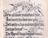 Antique Postcard DOWNLOAD | Edwardian Friendship Writing Resolution Poem with Flowers | Vintage floral png jpg digital download