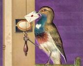 Antique Postcard DOWNLOAD | Bird with Envelope in Beak Ringing Doorbell | Edwardian Bird Delivering Mail purple background png jpg digital