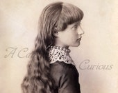 Antique Photo DOWNLOAD | Lovely Young Victorian Girl with Long Hair, Necklace, & Lace Collar | young lady child photograph digital png jpg
