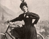 Antique Photo DOWNLOAD | Daring Victorian Lady with Bicycle wearing Bloomer Suit | Woman feminist feminism photograph picture digital