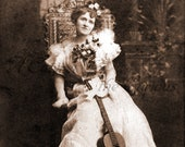 Antique Photo DOWNLOAD | Victorian Lady with Guitar & Flowers | female musician woman musical instrument photograph picture digital png jpg