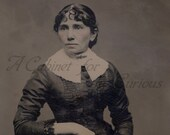 Antique Photo DOWNLOAD | Victorian Lady with Wide Collar, Lace Cuffs, and Brooch | 1860s tintype woman photograph picture digital png jpg