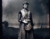 Antique Photo DOWNLOAD | Woman with Tambourine | ethnic costume Romani? Ukrainian? tintype photograph bohemian png jpg