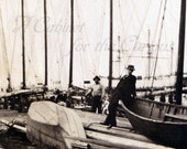 Antique Photo DOWNLOAD | Men at Dock with Vintage Sailboats | nautical ocean sea boat sailing edwardian photograph digital png jpg