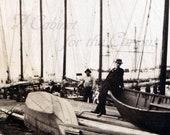 Antique Photo DOWNLOAD | Men at Dock with Vintage Sailboats | nautical ocean sea boat sailing edwardian photograph digital png jpg