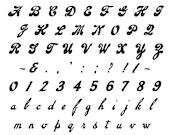 Vector Clipart Vintage 1920s Script Alphabet   Uppercase & Lowercase Cursive Letters, Numbers, Punctuation Lettering Handwritten SVG PNG