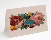 "Printable Hope Sustain Thee Ever 5x7"" A7 Greeting Card, Comfort, Sympathy Victorian Hand & Roses Vintage Flowers Floral download notecard"