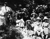 Antique Photo DOWNLOAD | Vintage Cowgirls, Hiking Group hats men women group woods photograph picture digital png jpg