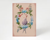"Printable Antique Style 5x7"" A7 Pretty Notecard Old-Fashioned Edwardian Purple Bird Blue Flowers Pink pastels greeting card"