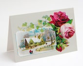 """Printable Winter Roses 5x7"""" A7 Notecard Victorian Red and Pink Roses with Maidenhair Fern and Winter Scene Flowers Floral greeting card"""