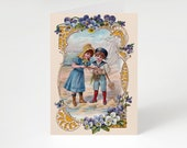"Printable Seaside Victorian Children 5x7"" A7 Notecard Boy & Girl Playing at Beach Ocean Pansies Floral Old Fashioned Summer greeting card"