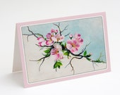 "Printable Pink Magnolia 5x7"" A7 Notecard Victorian Magnolias Flowers Floral Winter Scene Blue Sky Greeting Card"