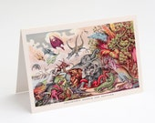 "Prehistoric Animals & Reptiles 5x7"" A7 Note Card | Blank Card Victorian Dinosaurs Wooly Mammoth Pterodactyl Mastadon Prehistoric Dinosaur"
