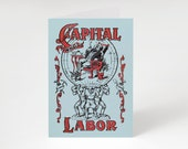 "Printable Capital and Labor 5x7"" A7 Notecard Socialist Greeting Card Retro Leftist Anti-Capitalist Pro-Worker Working Class Communist"