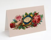 "Printable Forget Me Not 5x7"" A7 Greeting Card, Goodbye Farewell Victorian Hand, Book & Roses Vintage Flowers Floral notecard old fashioned"