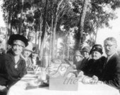 Antique Photo DOWNLOAD | 1920s Picnic Group | cloche hats men women twenties people eating table woods photograph picture digital png jpg