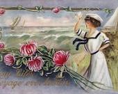 Antique Postcard DOWNLOAD | May Life's Voyage ever be Fair | Edwardian Woman Sailor Dress Pink Flowers Ocean Sea Sailboats png jpg digital