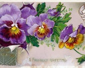 Antique Postcard DOWNLOAD | A Friendly Greeting Shabby Chic with Purple and Orange Pansies | Edwardian Viola Floral Flowers png jpg digital