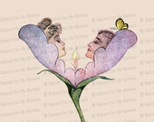 Vintage Edwardian Couple in Flower with Butterfly Color Vector Clipart | Antique Romantic Man and Woman Floral Instant Download PNG JPG SVG