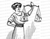 Vintage Victorian Lady Justice Weighing Money versus Love Clipart | Antique Goddess of Justice | Woman, Cupid, Scales Vector SVG PNG JPG