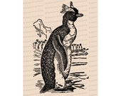 Edwardian Penguin | Antique Vintage Arctic Life Bird Vector Clip Art SVG PNG JPG Instant Digital Download