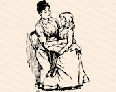 Vintage Edwardian Daughter Sitting on Mother's Lap  | Mother & Child | Vector Clipart Instant Digital Download SVG PNG JPG