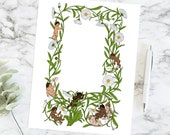 Cherubs Plucking Daisy Petals Color Floral Border | Printable Valentine's Day Frame | Vector Romantic, Wedding, Floral SVG PNG JPG