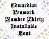 Edwardian Ornamental Penwork Installable Font  | Vintage Hand-Drawn Fancy Flourished Uppercase & Lowercase Letters, Calligraphy OTF TTF