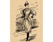 Victorian Lady in Bloomers with Walking Stick | Woman in Rational Dress | Antique Woman in Pants | Feminist Vector Clip Art SVG PNG JPG