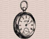 Digital Vintage Victorian Pocketwatch | Antique Watch Vector Clip Art | Instant Download SVG PNG JPG