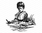 Digital Vintage Seated Victorian Lady Writing Letter | Antique Woman Vector Clipart Instant Download SVG PNG JPG