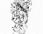 Ornamental Penwork Initial Letter N Vector Clipart  | Vintage Victorian Capital Letter N, Fancy Antique Monogram SVG PNG JPG